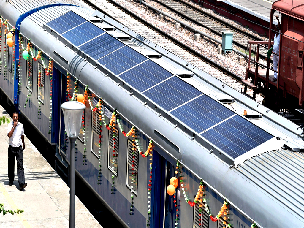 indian solar energy train photovoltaic railstock